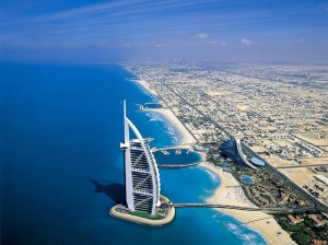 shoreline of dubai with hotel