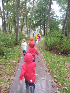 Children Walking Green Woods