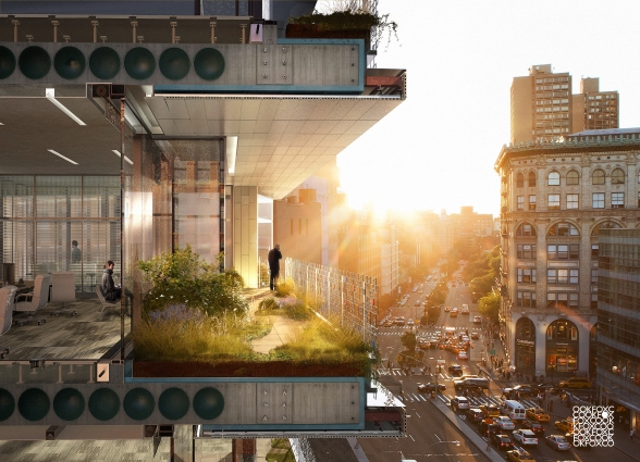 section render green roof