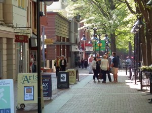 trees, sidewalk, people, street